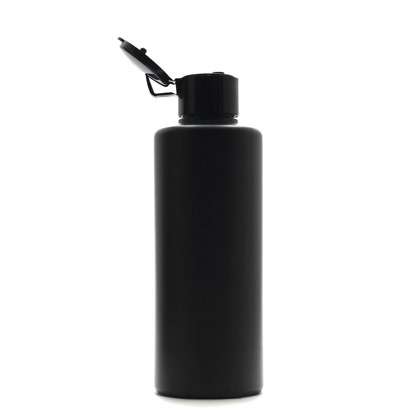 地図出会いハンドブックプラスチック容器 200mL PE ストレートボトル 遮光黒 [ ヒンジキャップ:ブラック ※パッキン付き ]