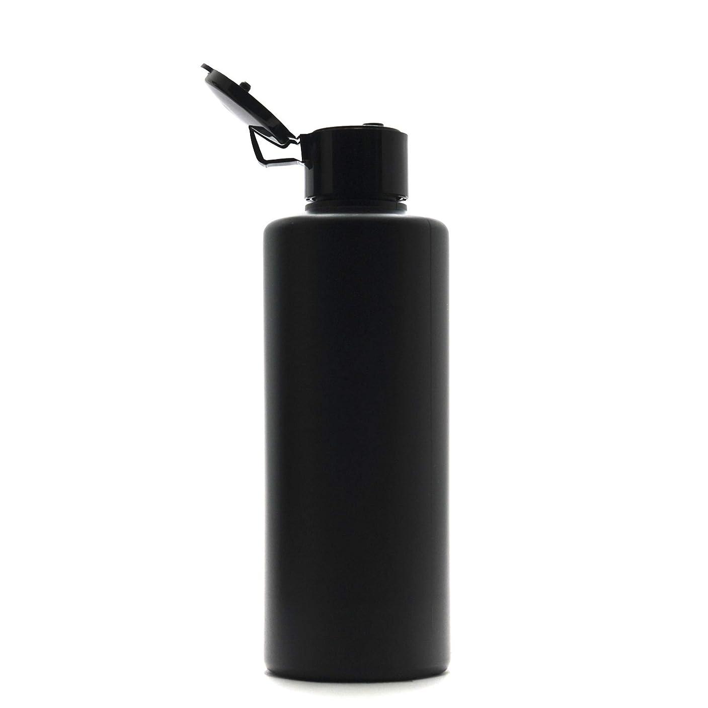 冗長解凍する、雪解け、霜解け称賛プラスチック容器 200mL PE ストレートボトル 遮光黒 [ ヒンジキャップ:ブラック ※パッキン付き ]