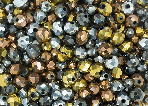 Juego de 400 piezas de brillantes metálicos: bronce, oro, peltre y plata de cristal de rondelle de colores mezclados para bisutería y manualidades