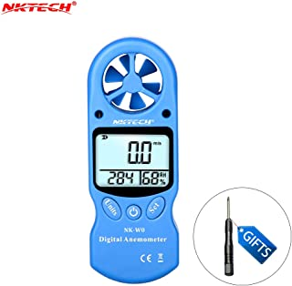 NKTECH Anemometer Handheld Wind Speed Gauges 3-in-1 Portable Air Flow Temperature Humidity Meter Multipurpose for Windsurfing Kiteflying Sailing Surfing Fishing Shooting Outdoor Activities - Blue