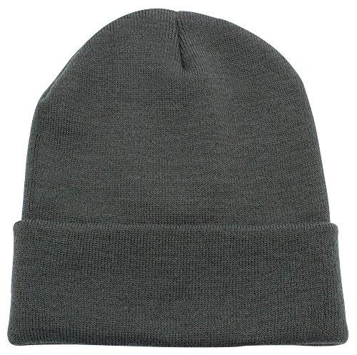 Top Level Unisex Cuffed Plain Skull Beanie Toboggan Knit Hat/Cap, Dark Grey