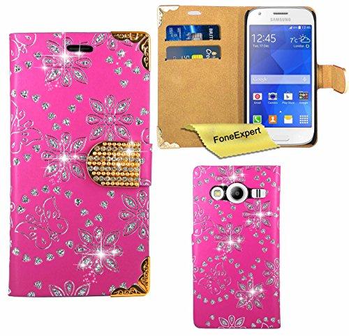 FoneExpert® Samsung Galaxy Ace 4 Hülle, Bling Luxus Diamant Hülle Wallet Hülle Cover Hüllen Etui Ledertasche Premium Lederhülle Schutzhülle für Samsung Galaxy Ace 4 SM-G357 + Bildschirmschutzfolie (Rosa)