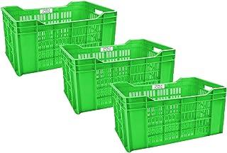 Urmila Plastic Heavy Duty Plastic Crate Multipurpose Crates Storage & Organizer for Home 54x36x29cm Green Set of 3