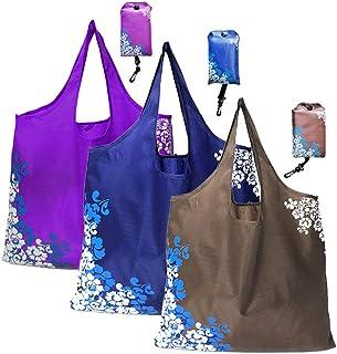 Bolsa de compras, bolsas de compras reutilizables, bolsas de compras plegables reutilizables, paquete de 3, lavable a máquina, duradero, liviano