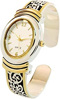2Tone Western Style Decorated Oval Face Women's Bangle Cuff Watch