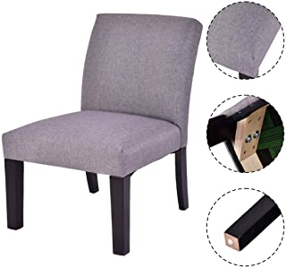 Wenst'sKufAN Modern Sleek Fabric Wood Armless Sofa Accent Chair Upholstered Living Room Furniture