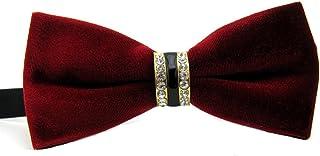 Mens Fashion Velvet Crystals Rhinestones Wedding Party Bowtie Bow Tie (Dark Red)