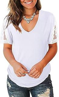 OrientalPort Maglietta da donna con scollo a V, in pizzo, patchwork, a maniche corte, tinta unita, casual, estiva