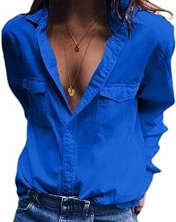 YIhujiuben Women's Casual V Neck Button Up Cuffed Sleeve Dress Shirt Blouse