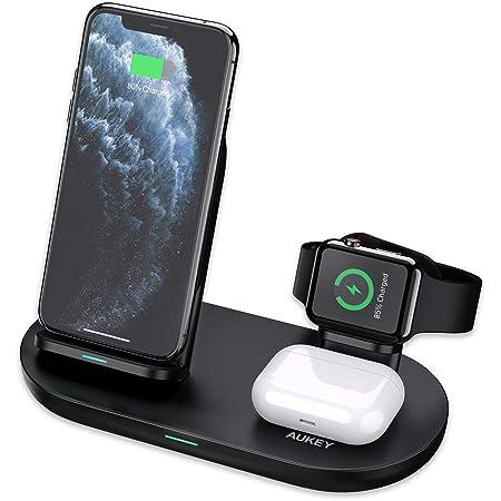 Aukey Caricatore wireless 3 in 1 per iPhone 12, iWatch, AirPods Pro, 4 in 1, ricarica rapida, certificato Qi per iPhone 11/X/XR, Samsung (adattatore non incluso)