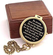 Roorkee Instruments India Be Strong and Courageous Do not be Afraid,Engraved Compass W/Wood Case, Confirmation Gift Ideas, Baptism Gifts