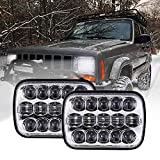 xj jeep headlight conversion - BICYACO DOT 110W 5x7 Inch Led Headlights 7x6 Inch Hi/Low Led Sealed Beam Headlamp for Jeep Wrangler YJ Cherokee XJ H4 Plug H6054 Headlights H5054 6054 6052 Toyota Pickup(Chrome)