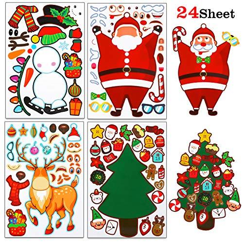 HOWAF 24 Hoja Navidad Bricolaje Pegatinas Stickers a Haz lo tuyo Árbol de Navidad Papá Noel Reno Monigote de Nieve Pegatinas para Niños Actividad Juegos Artículo Calendario de Adviento Decoraciones