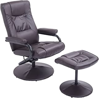 HomCom Ergonomic Faux Leather Lounge Armchair Recliner And Ottoman Set - Dark Brown