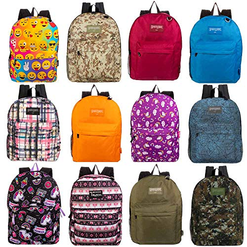 17 Inch Wholesale Classic Padded Bulk Backpacks in 8 to 12 Randomly Assorted Unique Prints and Colors - Case of 24 Bookbags