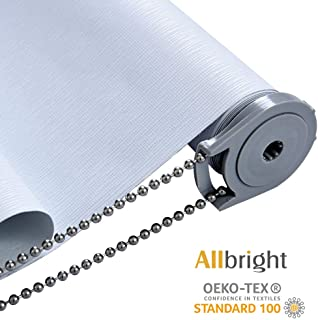 ALLBRIGHT Thermal Insulated UV Protection 100% Blackout Waterproof Window Roller Shades Blinds with Striped Jacquard (58 x 72 inches, Static White)