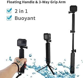 TELESIN Waterproof Selfie Stick with Floating Hand Grip 3-Way Grip Arm Tripod Mount Monopod Telescopic Selfie Pole for GoP...