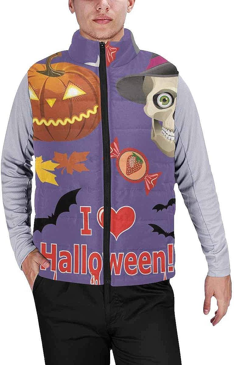 InterestPrint Men's Winter Full-Zip Outwear Padded Vest Coats Halloween Pattern with Skulls and Flowers