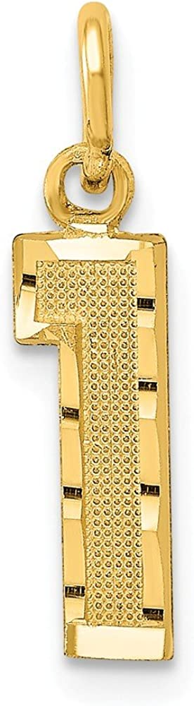 Solid 14k Yellow Gold Casted Small Diamond-Cut Number 1 Charm Pendant - 20mm x 4mm