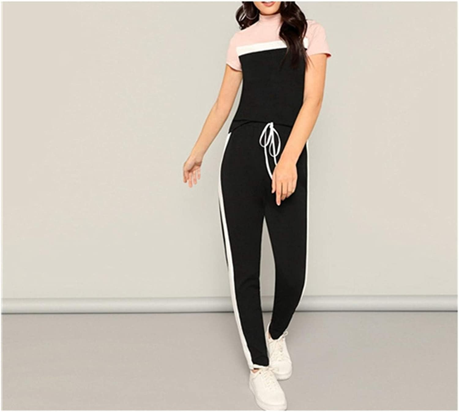 Nieloya MockNeck colorblock Tee and Drawstring Waist Pants Set Two Piece Set Women Short Sleeve 2 Piece Outfits