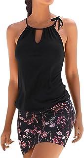 Ropa de Mujer Vestidos Falda Chaleco Vestido Mini Playa Sin Mangas con Estampado Retro Camisetas Verano