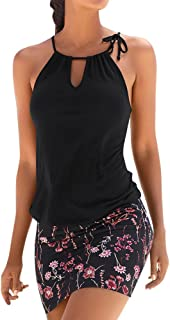 LONGDAY Women Halter Neck Boho Print Sleeveless Casual Mini Beachwear Dress Sundress Summer Retro Beach Short Dress