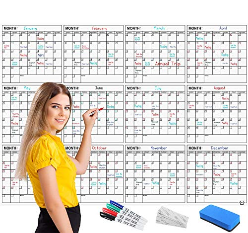 Jumbo Dry Erase Yearly Calendar 36 x 48 Inch Horizontal 12 Month Reusable Wall Planner Includes 4 Markers 1 Eraser and Mounting Tape