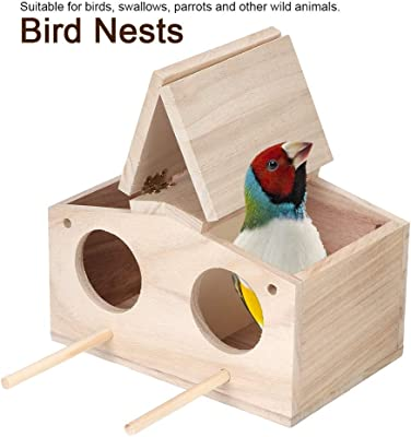 AUNMAS Wooden Pet Gifts Bird Nests House Breeding Box Cage Birdhouse Accessories Garden Decor for Parrots Swallows