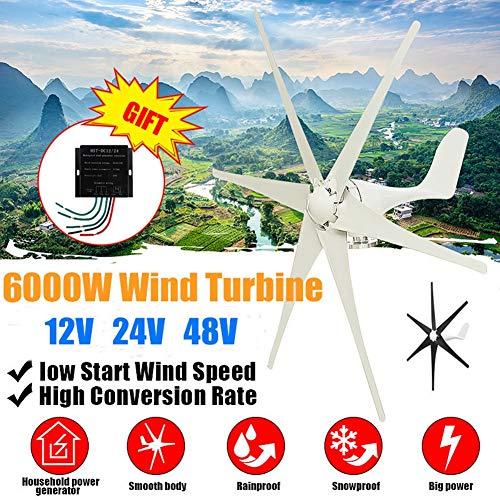 GJZhuan 2020 6000W Windkraftturbinen Generator 12/24/48V Weiß Schwarz Wind Blade-Option Mit Wind-Laderegler for Haus Oder Camping (Voltage : 48V)