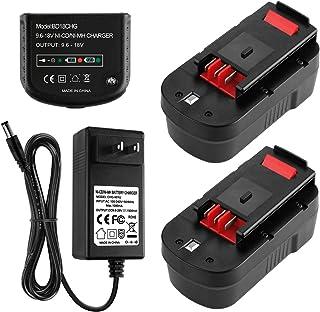 Energup 2 Pack 3.5Ah HPB18 Batería de repuesto Black and Decker 18V 244760-00 A1718 FS18FL FSB18 Firestorm + 90571729-01 Multi-Volt 1.5Ah Cargador de batería de salida para Black Decker 9.6-18V Baterías