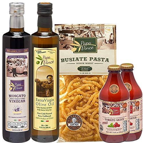 Papa Vince Italian Gourmet Gift Basket made in Italy from fresh ingredients grown in Sicily. Low Glycemic Pasta, Low Acid Marinara Sauce, Vegan, NON GMO, No Pesticides, No Additives Sensitive Stomach