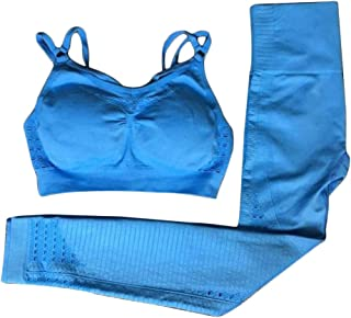 XFKLJ Sports Bra Yoga Pants Women Seamless Yoga Sets High Waist Gym Mesh Leggings Bra Tops Suit Strappy Fitness Workout Sp...