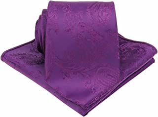 Mens Silk Paisley Tie Set : Necktie and Pocket Square-(Available in Standard 58-inch and 63-inch Extra Long)