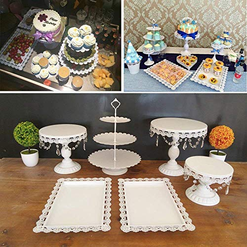 Relaxbx 6 Cake Stand Set Wit, Ronde Bruiloft Taartstandaard Display Gelaagde Pop Kristal Hangen, Grote Taartdessert Houder Kit voor Gelukkige Verjaardag Kerstmis Kerstfeest