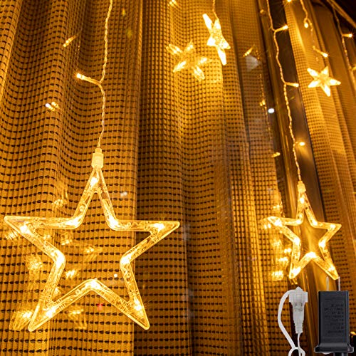 AWQ 12 Stars 138 LEDs Fairy Lights Star String Lights Star Curtain Lights 8 Modes for Christmas Wedding Home Garden Bedroom Decor