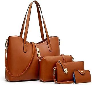 YTL Damen-Handtasche + Schultertasche + Geldbörse + Kartenhalter 4-teiliges Set