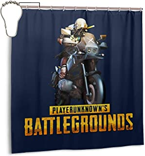 ENXIANGXIJ Waterproof Polyester Fabric Shower Curtain Player Unknown Battlegrounds Motorcycle Print Decorative Bathroom Curtain with Hooks,72