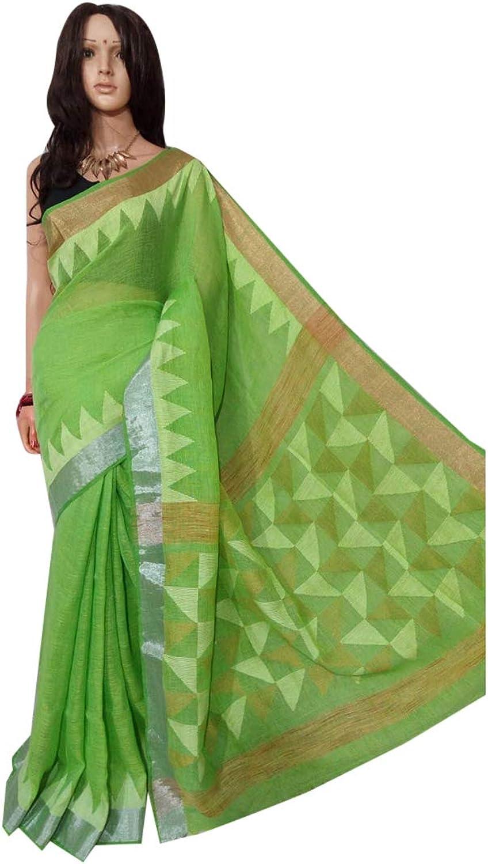 Beautiful Indian traditional Pure Linen Jamdani Sari Ethnic Handwoven Women saree 100A