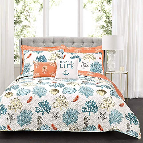 Lush Decor Blue and Coral Coastal Reef Quilt-Reversible 7 Piece Bedding Set with Feather Seashell Design-Full Queen