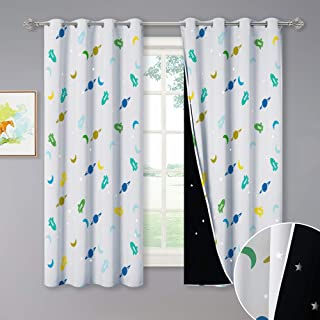 NICETOWN Blackout Curtains, Magic Stars Appear During The Day, Printed Moon Planet Rocket Patterns Nursery/Kids Bedroom Drapes with Star Cut Liners, 52 inches W x 63 inches L, Flesh Color, 2 Panels.