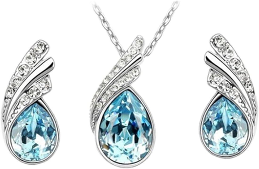 Angel Tear Drop Austrian Crystal Pendant Necklace & Earring Set | Fashion Accessories | Womens Jewelry, Pendant Earrings & Pendant Necklace | Earrings Gift For Girls Women