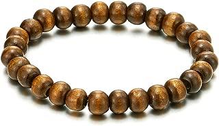 Classic Mens Womens Wood Beads Bracelet, 8mm Tibetan Beads Prayer Mala, Stretchable
