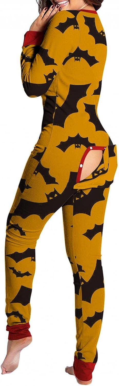 UOCUFY Pajamas for Women,Halloween Sleepwear V Neck Back Functional Buttoned Flap Jumpsuit Long Sleeve Bat Print Bodysuit
