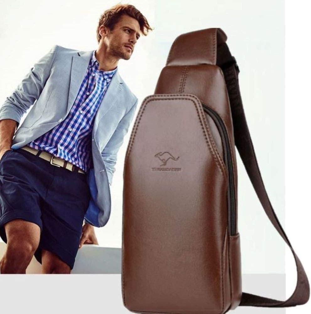 Men's Leather Sling Bag Korean Design Chest Bags Small Casual Crossbody Satchel Outdoor Travel Shoulder Water Resistant Anti Theft Backpack, Brown