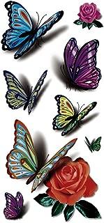 TAFLY(TM) 5 Sheets Waterproof 3D Blue Butterfly Rose Flower Sticker Tattoo Foil Decal Fashion Body Art Fake Tattoo