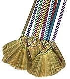 掃把 Anti-Static Choi Bong Co Vietnam Hand Made Straw Soft Broom Colored Handle 12' Head Width, 40' Overall Length 3-PC