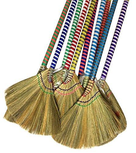 """掃把 Anti-Static Choi Bong Co Vietnam Hand Made Straw Soft Broom Colored Handle 12"""" Head Width, 40"""" Overall Length 3-PC"""