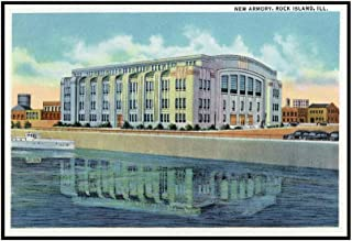 Rock Island, Illinois - Exterior View of the New Armory (36x22 5/8 Framed Gallery Wrapped Stretched Canvas)