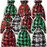 25 Pieces Christmas Candy Bag with Snowflake Pattern Linen Cloth Gift Bags with Drawstring Christmas...