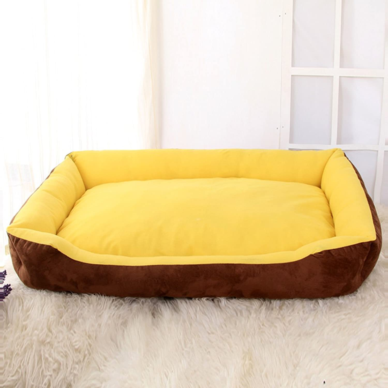 DSAQAO Samoyed large dog bed, Washable Kennel Indoor Pet beds, Soft Square Pet nest Basket bed cushionB L 90x60cm(35x24inch)